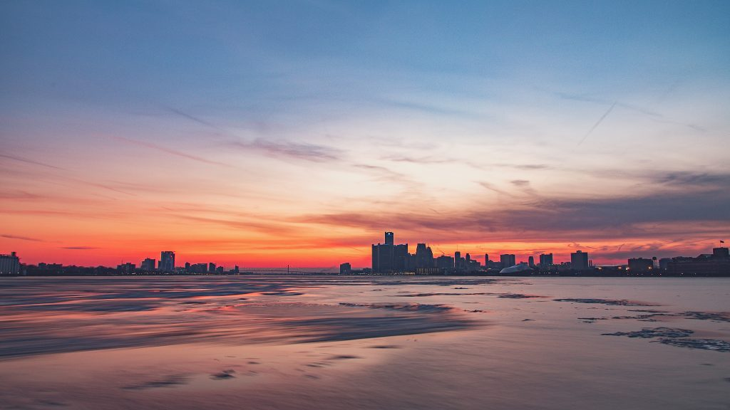 Long exposure photo of Detroit and Windsor at sunset