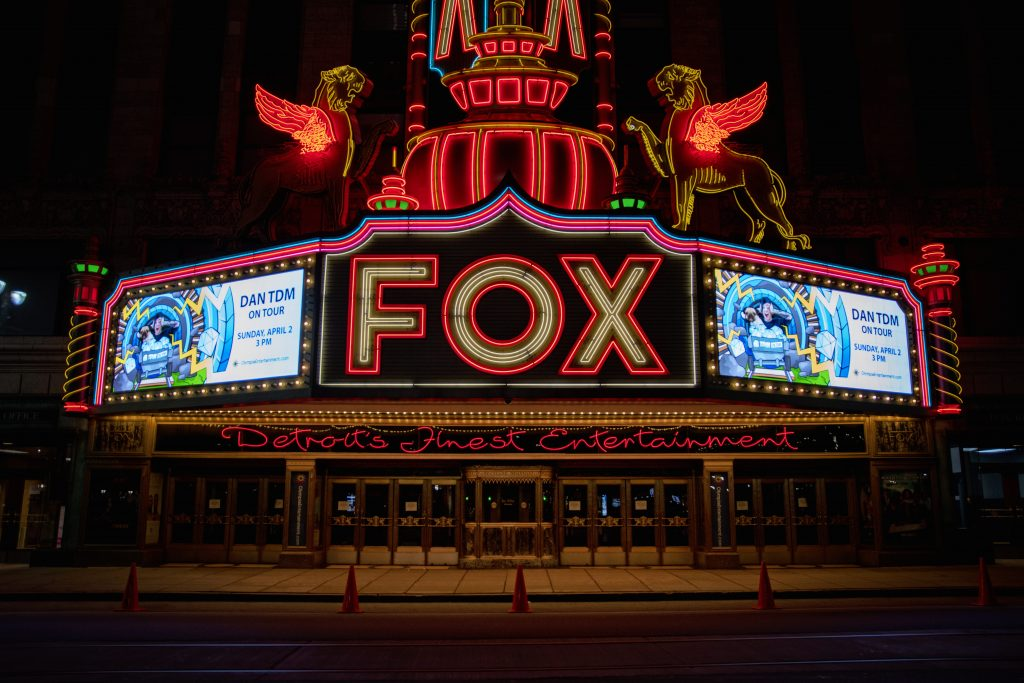 The Fox Theater, Detroit at night.