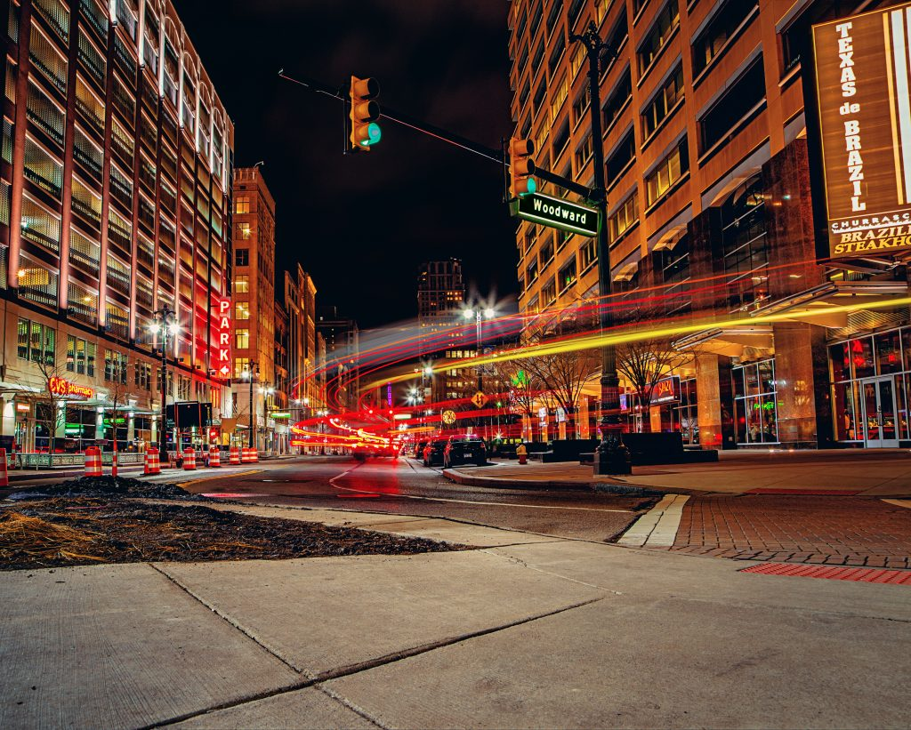Northbound Woodward Ave in Downtown Detroit.
