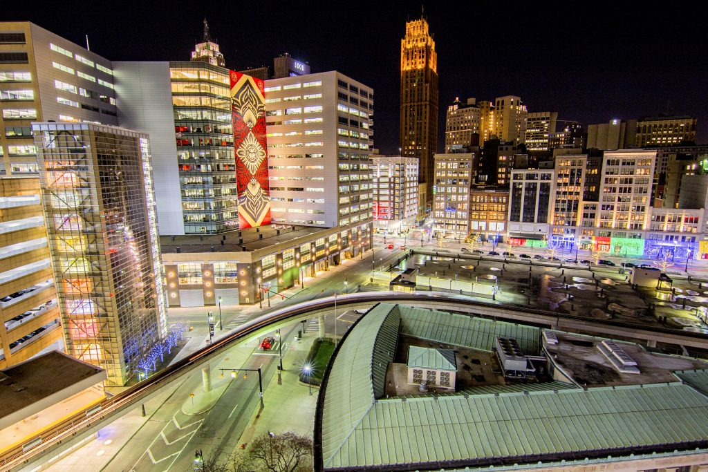 The view of the Woodward corridor from Detroit's Z-Deck parking structure.