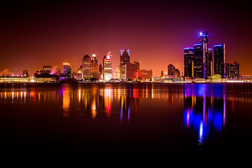 Downtown Detroit from Dieppe Gardens in Windsor Ontario