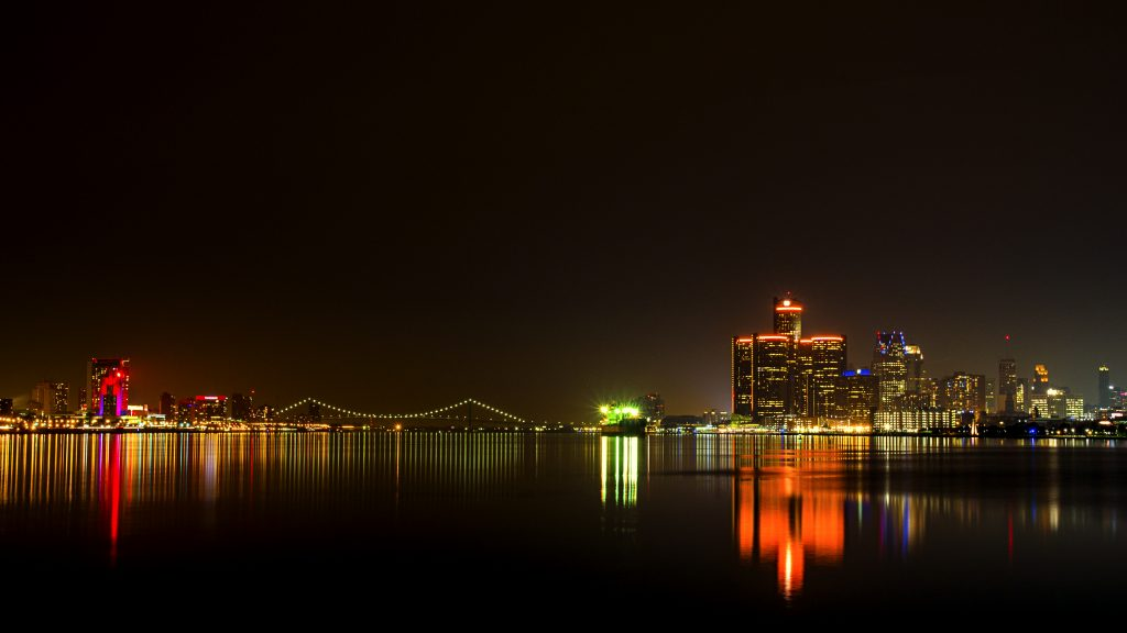 Detroit and Windsor skyline at night.