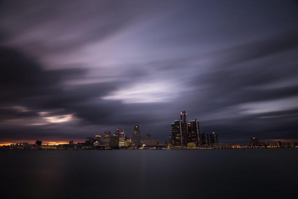 Blue hour shot of Detroit Skyline from Windsor
