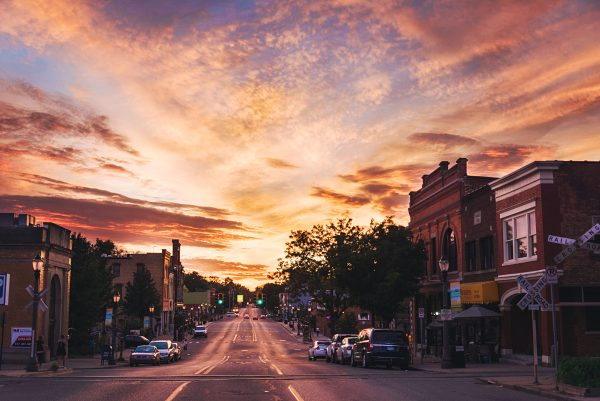 Sunset over Old Town in Lansing Michigan