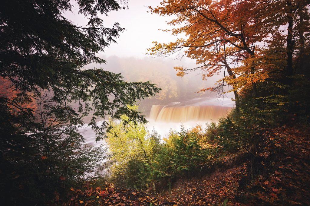 A foggy morning at Tahquamenon Falls