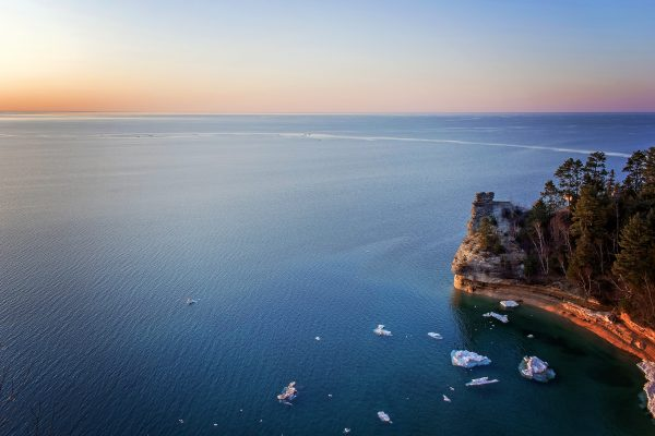 Sunset at the Pictured Rocks' Miners Castle - Munising Michigan