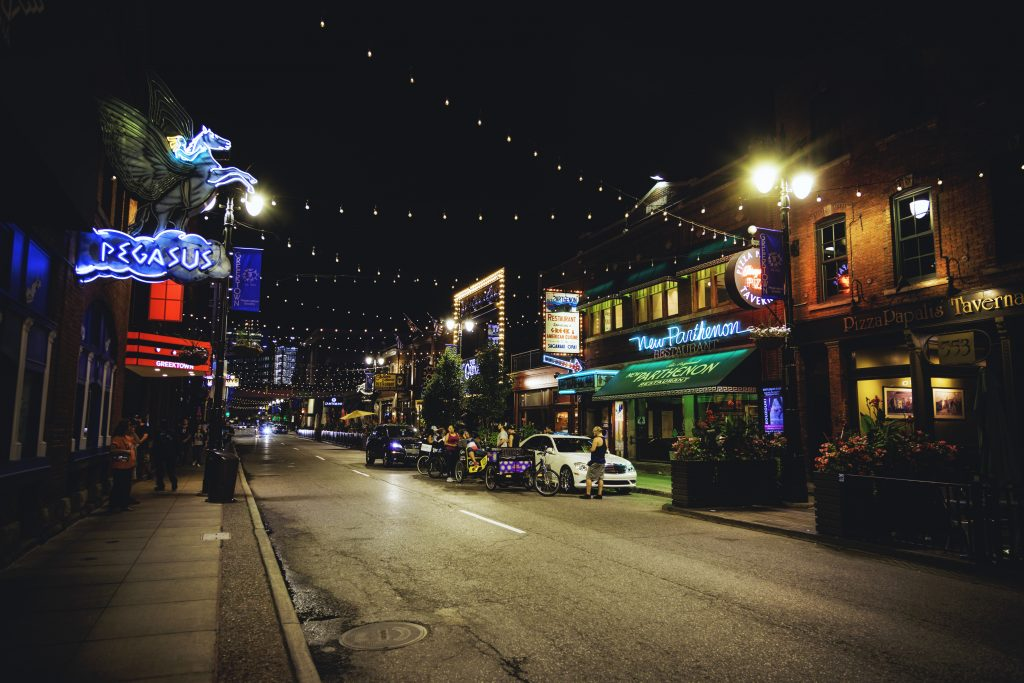 Greektown Detroit's Monroe Street at night.