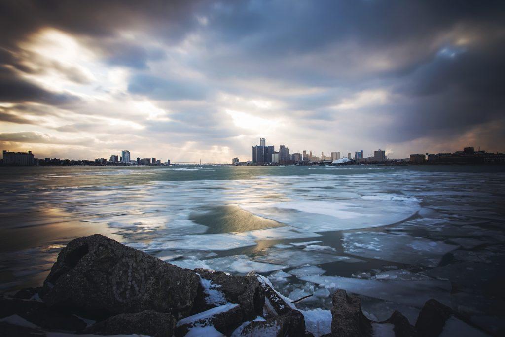 Detroit & Windsor Skyline from Belle Isle's Sunset Point