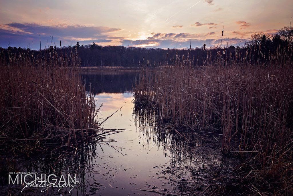 Heart Lake sunset at Bald Mountain State Recreation Area.