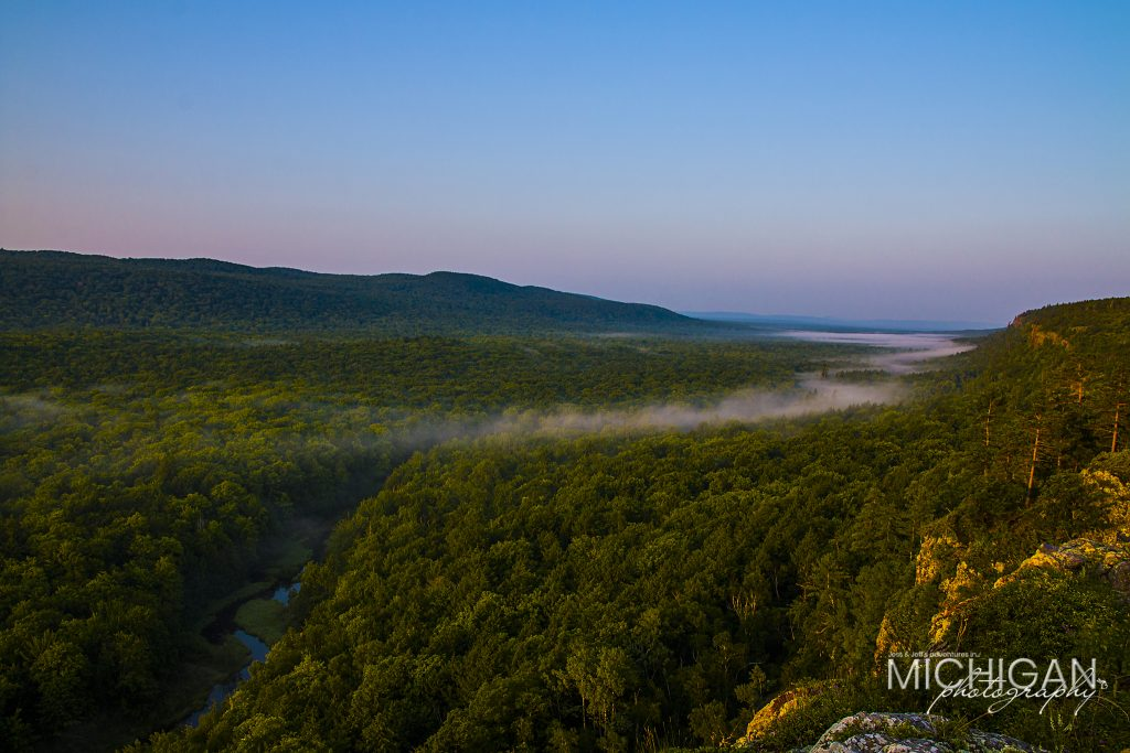 A view of the Big Carp River opposite Lake of the Clouds in the Porcupine Mountains