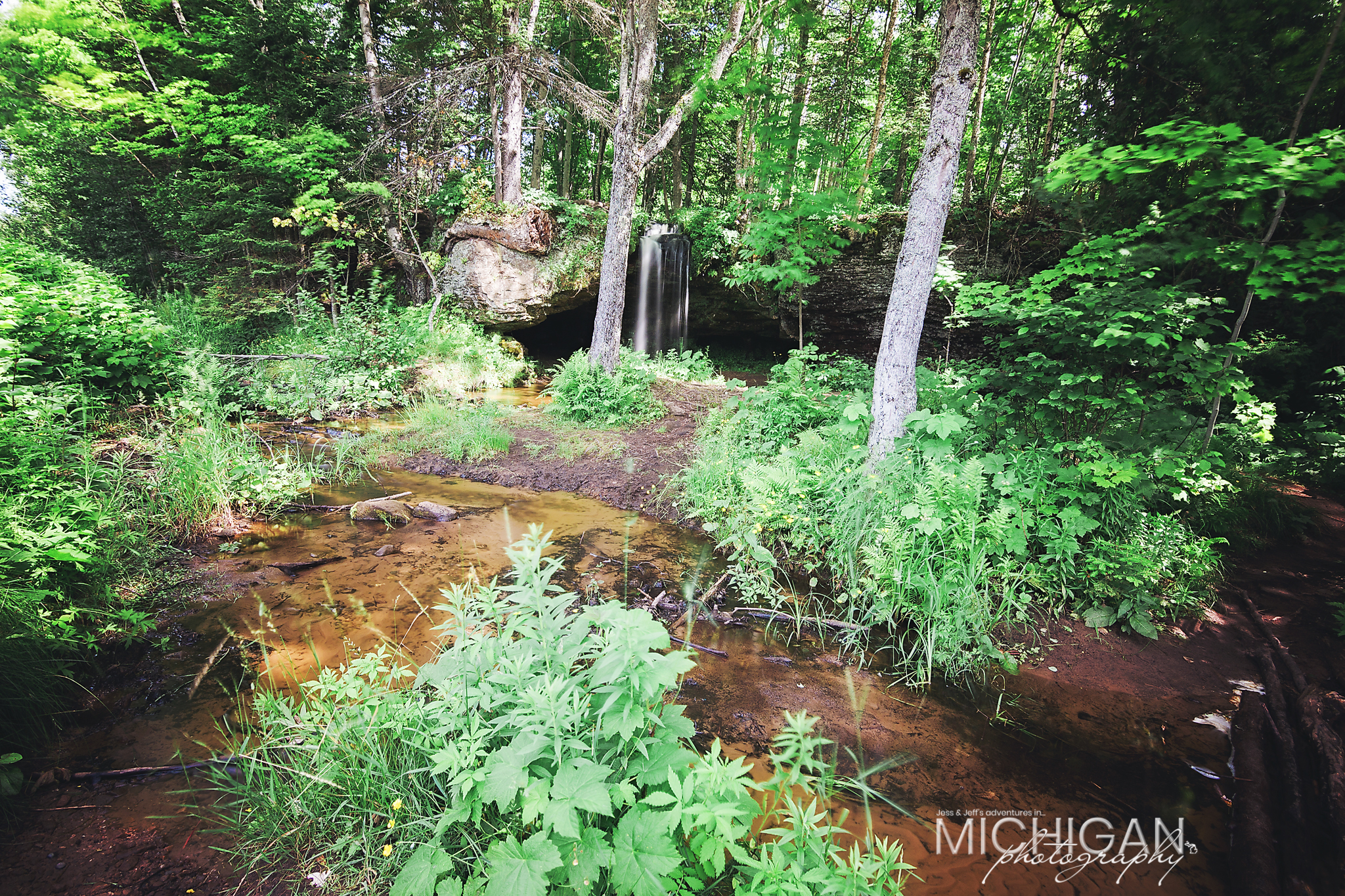 A broad view of Scott Falls near Munising in Au Train