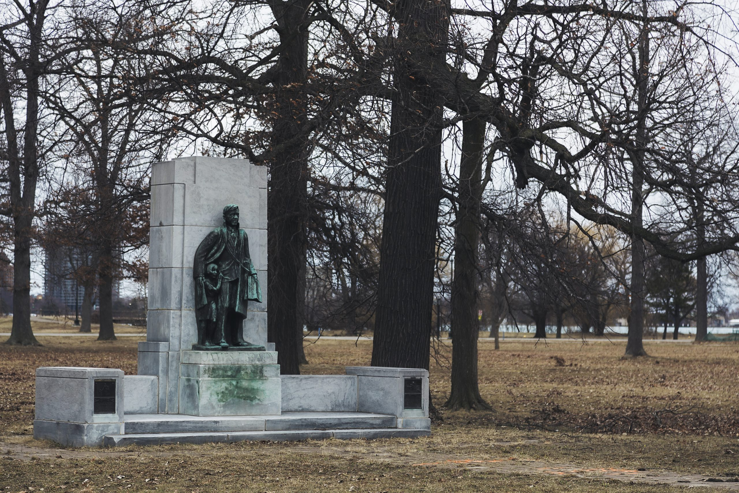 The James J Brady Memorial on Belle Isle