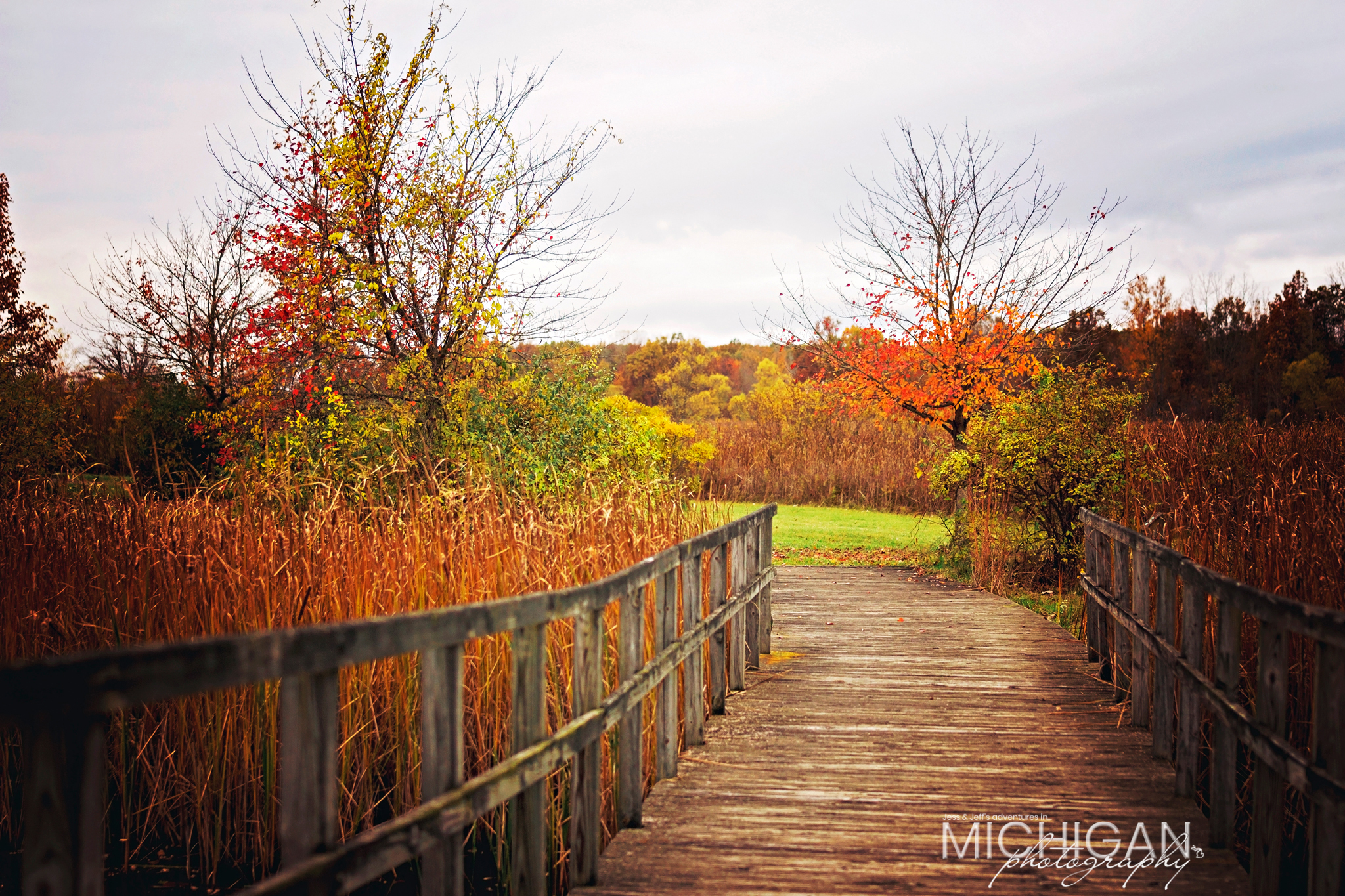 The end of the boardwalk. Crosswinds Marsh in Autumn