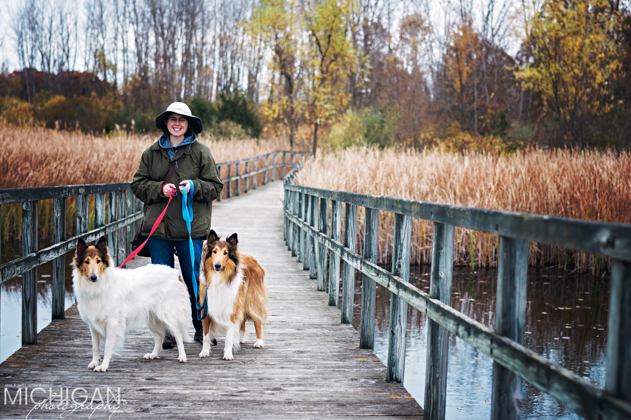 Jess & our pups on a Crosswinds Marsh boardwalk.