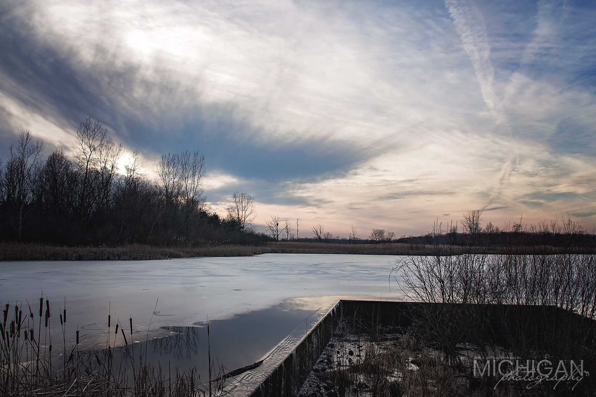 The sun sets on Wayne County Park's Crosswinds Marsh.