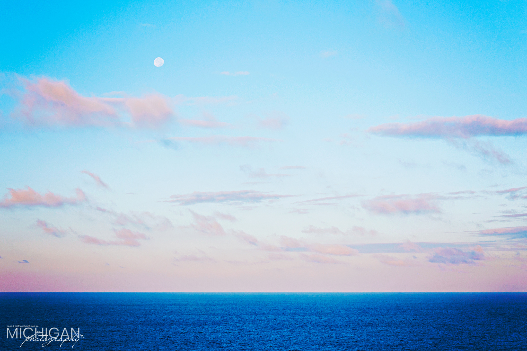 The moon and sky over Lake Michigan in Arcadia