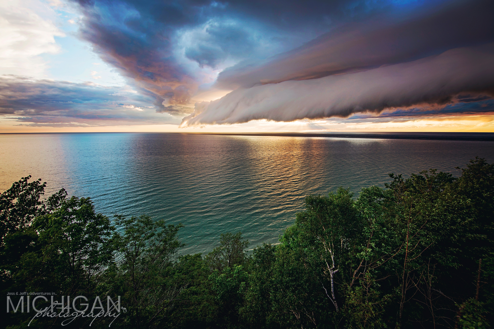 A roll cloud at sunset over Lake Michigan from Arcadia's Inspiration Point
